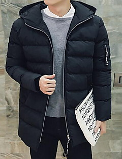 Erkek Solid Sade Günlük/Sade Kaban,Pamuklu Polyester Normal Dolgulu-Uzun Kollu Kapşonlu Siyah