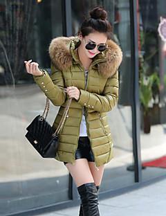 Damen Gefüttert Mantel Einfach Lässig/Alltäglich Übergröße Solide-Baumwolle Polyester Polyester Baumwolle Polypropylen Langarm