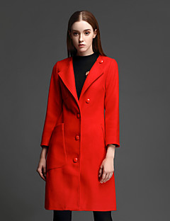 Casual/hétköznapi Egyszerű Téli-Női Kabát,Egyszínű Kerek Hosszú ujj Piros Egyéb Vastag