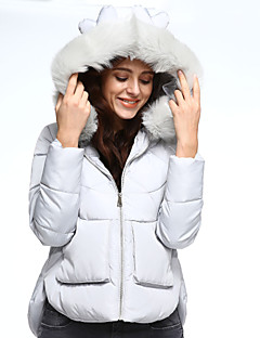 Women's Regular Padded Coat,Simple Going out / Casual/Daily Solid-Polyester Polypropylene Long Sleeve Hooded Pink / White / Gray