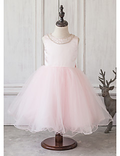 Princess Tea-length Flower Girl Dress - Satin / Tulle Sleeveless Jewel with Beading