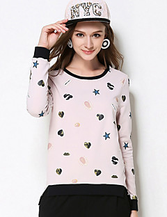 MEIDONGTAI Women's Plus Size / Casual/Daily Simple Fall T-shirtPrint Round Neck Long Sleeve Pink Cotton / Spandex Medium