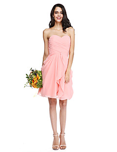 2017 Lanting Bride® Knee-length Chiffon Lace-up Bridesmaid Dress - Sweetheart with Criss Cross