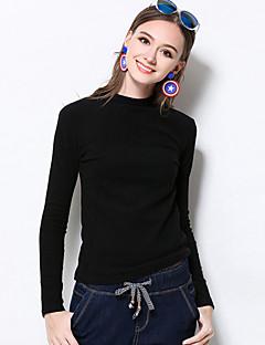 Mujer Simple Casual/Diario / Tallas Grandes Invierno Camiseta,Cuello Barco Un Color Manga Larga Algodón / Licra Rojo / Negro / Marrón