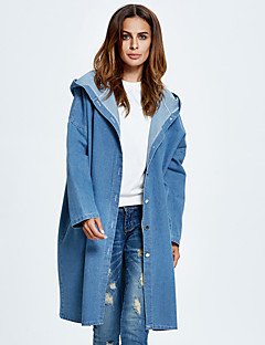 Women's Going out / Casual/Daily Simple / Street chic Fashion All Match Loose Denim JacketsSolid Hooded Long Sleeve Spring / Fall Medium