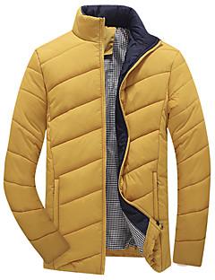 Herren Gefüttert Mantel,Standard Einfach Übergröße Solide-Polyester Polyester Langarm Blau / Schwarz Ständer
