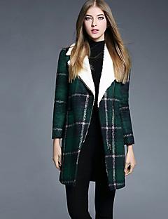 YBKCP Women's Casual/Daily Simple CoatPlaid Notch Lapel Long Sleeve Fall / Winter Green Polyester Medium