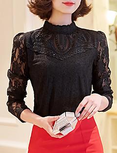 Dames Eenvoudig Herfst T-shirt,Casual/Dagelijks Effen Opstaand Lange mouw Roze / Wit / Zwart Polyester Medium