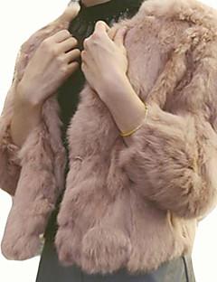 Feminino Casaco de Pêlo Casual Simples Inverno, Sólido Rosa / Bege / Cinza / Roxo Raiom Decote Redondo-Manga ¾