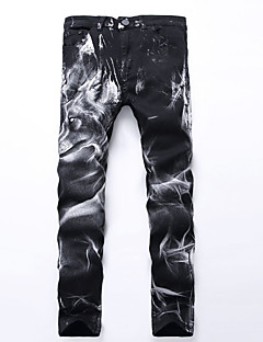 New Brand Fasinon Black 3D Wolf Printed Men Jeans Unique Running Man Biker Printing Cotton Skinny Jeans For Men Denim Pants