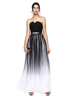 TS Couture Prom Formal Evening Dress - Color Gradient A-line Notched Floor-length Chiffon with Beading Draping Sash / Ribbon Criss Cross