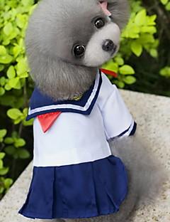 Kissat / Koirat Asut / Hameet Valkoinen Koiran vaatteet Kesä / 봄/Syksy Merimies Muoti / Cosplay