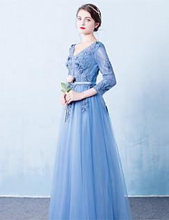 포멀 이브닝 드레스 A-라인 V-넥 코트 트레인 튤 와 허리끈/리본