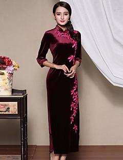 סתיו פוליאסטר כחול / אדום / ירוק אורך חצי שרוול מקסי גולף רקמה סגנון סיני יום יומי\קז'ואל / מידות גדולות שמלה נדן נשים,גיזרה בינונית