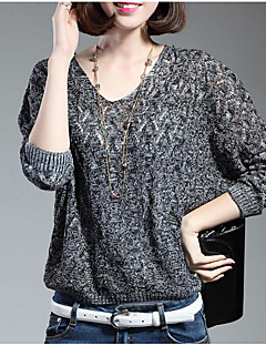 Women's Casual/Daily Cute Regular Pullover,Print Black Gray V Neck Long Sleeve Wool Fall Thin Micro-elastic