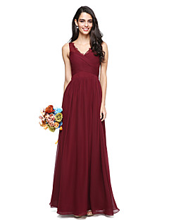 2017 Lanting Bride® Floor-length Chiffon / Lace Elegant Bridesmaid Dress - A-line V-neck with Criss Cross