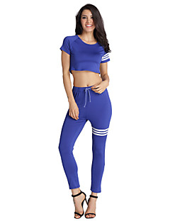 Women's Casual/Daily / Sports Cute / Active All Seasons T-shirt Pant Suits,Color Block Round Neck Short Sleeve Blue / BlackPolyester /