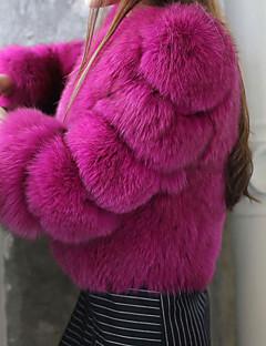 Feminino Casaco de Pêlo Casual Simples Inverno,Sólido Rosa / Branco / Preto / Roxo Pêlo Sintético Decote Redondo-Manga Longa Grossa
