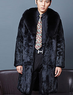 Men's Plus Size Street chic Fur Coat,Solid Shirt Collar Long Sleeve Winter Black Faux Fur Thick