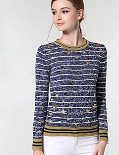 Normal Pullover Femme Sortie Vintage,Rayé Couleur Pleine Gris Col Arrondi Manches Longues Polyester Hiver Moyen Micro-élastique