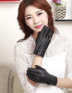 女性のPUグリッド手首の長さがかわいい/パーティー/カジュアル冬のファッション暖かい手袋指先