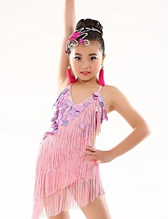 Belly Dance Leotards Children's Performance Polyester Appliques Tassel(s) 1 Piece Sleeveless Natural Leotard 120-140