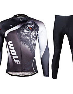 PALADIN® חולצה וטייץ לרכיבה לגברים שרוול ארוך אופנייםנושם / ייבוש מהיר / עמיד אולטרה סגול / רצועות מחזירי אור / כיס אחורי / מפחית שפשופים