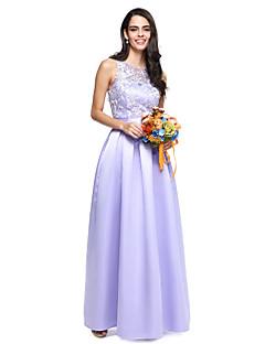 2017 Lanting Bride® Floor-length Lace / Satin Elegant Bridesmaid Dress - Ball Gown Jewel with Sash