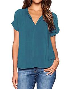 Damen Solide Sexy / Einfach Lässig/Alltäglich / Ausgehen Bluse,V-Ausschnitt Herbst Kurzarm Grün Polyester / Elasthan Dünn