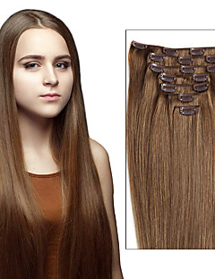 Clip In Human Hair Brazilian Virgin Hair Extensions Straight Clip Ins Remy Hair Extensions 7pcs / 8pcs One Set  As Pictures Color