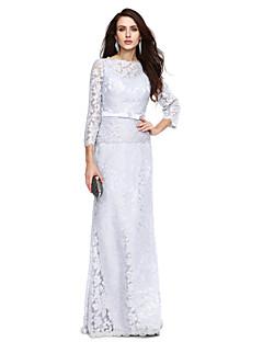 Lanting Bride® Eng anliegend Brautmutterkleid - Elegant Boden-Länge 3/4 Ärmel Spitze  -  Schleife(n) / Schärpe / Band