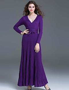 Kadın Günlük/Sade Sade Çan Elbise Solid,Uzun Kollu V Yaka Maksi Siyah / Mor Polyester Sonbahar Normal Bel Mikro-Esnek Orta