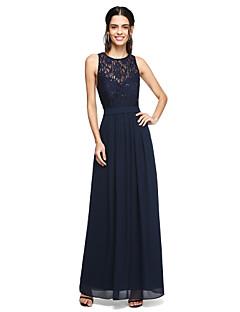 2017 Lanting Bride® Floor-length Chiffon / Lace See Through / Beautiful Back Bridesmaid Dress - A-line