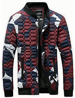 Men's Regular Padded Coat,Simple Going out Casual/Daily Holiday Color Block-Polyester Polyester Long Sleeve