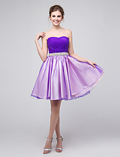 A-Line Sweetheart Short / Mini Tulle Bridesmaid Dress with Crystal Detailing