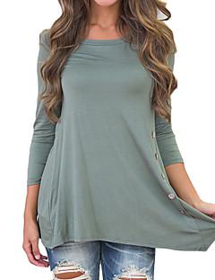 Feminino Camiseta Para Noite / Casual Simples / Boho / Moda de Rua Primavera / Outono,Sólido Preto / Verde Poliéster Decote RedondoManga