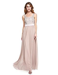 2017 Lanting Bride® A-line Mother of the Bride Dress - Elegant Floor-length Sleeveless Chiffon with Appliques / Beading / Sash / Ribbon