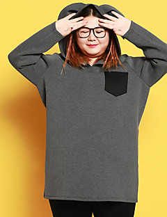 Women's Casual/Daily Simple Hoodie Solid Micro-elastic Polyester Long Sleeve Fall Winter