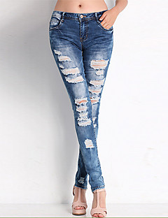 Women's Cut Out  Slim / Skinny Jeans Pants,Going out / Casual/Daily Sexy / Vintage / Simple Solid Mid Rise Zipper Spandex Micro-elasticSpring /