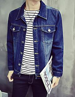 Masculino Jaquetas Jeans Casual Simples Outono,Sólido Azul Elastano Colarinho de Camisa-Manga Longa Média