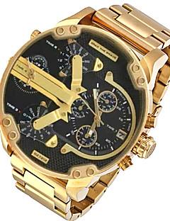 Men's Military Watch Dress Watch Fashion Watch Wrist watch Calendar Dual Time Zones Punk Quartz Alloy Band Charm Cool Casual Luxury Gold