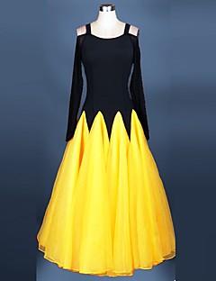 볼륨 댄스 드레스 성능 스판덱스 오르간자 드레이프 레이스 1개 긴 소매 높음 드레스 S-XXXL: 120-130
