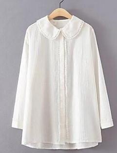 Women's Going out Sexy Fall Shirt,Solid Shirt Collar Long Sleeve White Cotton Medium