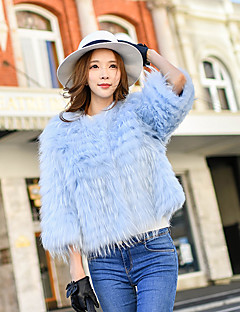 DABUWAWA Women's Going out / Casual/Daily / Party/Cocktail Cute / Street chic / Sophisticated Fur CoatSolid Crew Neck Long Sleeve Winter