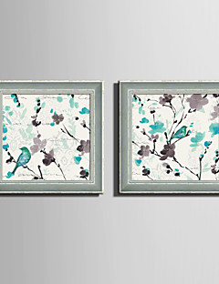E-HOME® Framed Canvas Art Blue Bird And Flower Framed Canvas Print Set Of 2