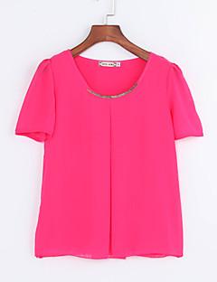 Mulheres Blusa Casual Simples / Moda de Rua Verão,Geométrica Azul / Vermelho / Branco / Preto / Verde / Amarelo Poliéster Decote Redondo
