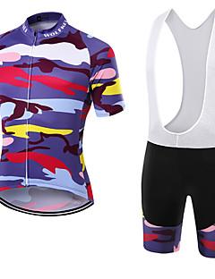 ספורטיבי חולצת ג'רסי ומכנס קצר ביב לרכיבה יוניסקס שרוול קצר אופנייםנושם / ייבוש מהיר / עמיד לאבק / לביש / דחיסה / כיס אחורי / נמתח / תומך