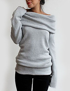 Casual/Daily Simple T-shirt,Solid Asymmetrical Long Sleeve Gray Polyester