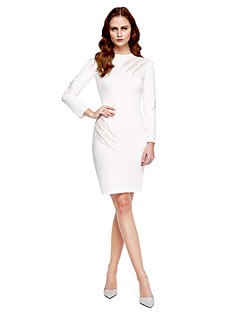 TS Couture® Coquetel Vestido - Estilo Celebridade Tubinho Decorado com Bijuteria Até os Joelhos Microfibra Jersey com Miçangas