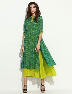 Dámské Vrstvené Maxi Umělé hedvábí Šaty Do V Tříčtvrteční rukáv
